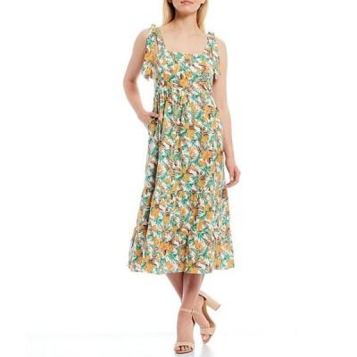 スカイズアブルー レディース ワンピース トップス Floral Print Tie Shoulder Strap Midi Dress