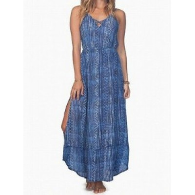 Maxi  ファッション ドレス Ripcurl Womens Blue Size Large L Crisscross Neck Printed Maxi Dress