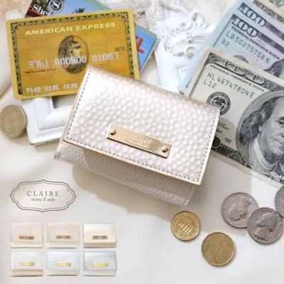 財布 三つ折り レディース コンパクト リザード クロコ ドット レザー 本革 CLAIRE ミニ ウォレット カードケース 大容量 二つ折り クレア 小さめ 薄型 シンプル