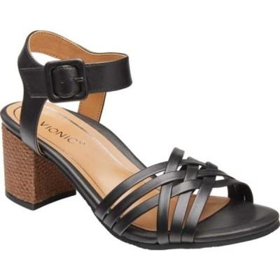 バイオニック サンダル シューズ レディース Peony Ankle Strap Sandal (Women's) Black Leather