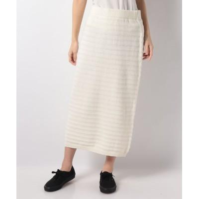【メルローズ クレール】 ボーダー地柄編みニットスカート レディース オフホワイト F MELROSE Claire
