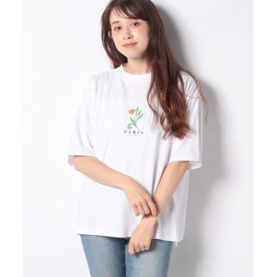 (Green Parks/グリーンパークス)フラワーモチーフTシャツ/レディース オフホワイト