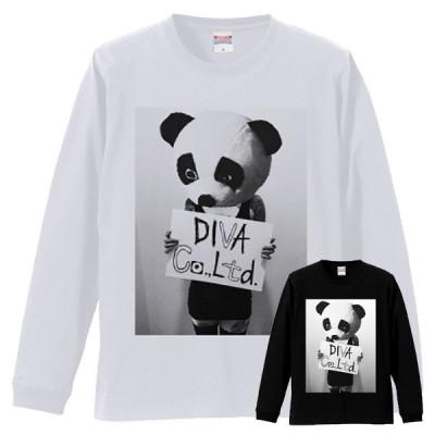 フォトt フォトプリント パンダガール プリントロンT Tシャツ ブラック ホワイト グレー メンズ長袖 T-shirts ロンT