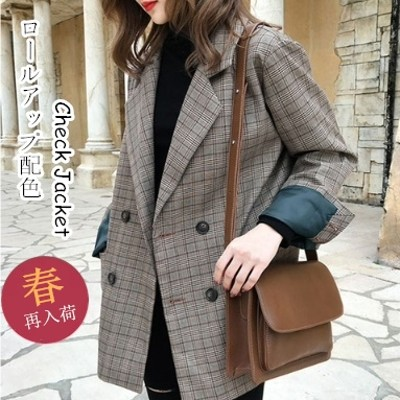 【ロールアップ配色チェックジャケット】グレンチェックジャケット スーツジャケット ルーズ ブルゾン  レディース アウター ポケット付き 韓国ファッション