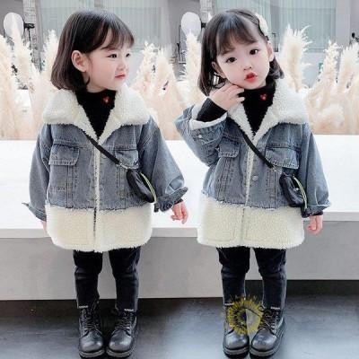 韓国子供服 デニムコート ムートンコート 秋冬 女の子 裏起毛 ロング丈 可愛い ゆったり キッズカジュアル 防寒 おしゃれ 厚手 キッズ もこもこ 暖かい