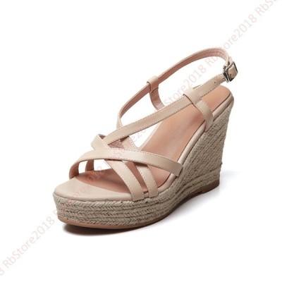 サンダル レディース 厚底 ヒール オフィス 歩きやすい 旅行 9cm ゴムサンダル 走れる 疲れない ウェッジ 粉色 ブラウン  かわいい クッション 大きいサイズ