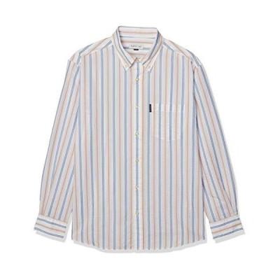 エレメント オブ シンプルライフ ワイシャツ セオαカラーサッカーストライプシャツ メンズ イエロー 日本 L (日本サイズL相当)