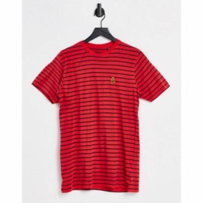 ルーク Luke メンズ Tシャツ トップス stripe crew neck t-shirt レッド
