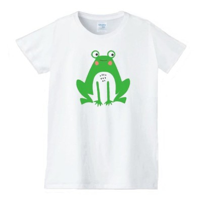 カエル 動物生き物 Tシャツ 白 レディース 女性用 jd71