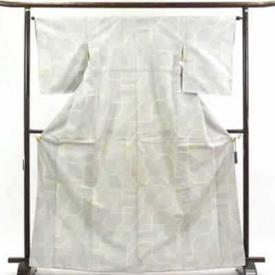 【中古】リサイクル着物 紬 / 正絹白地先染絣袷紬着物 / レディース【裄Mサイズ】(古着 リサイクル品 紬 )