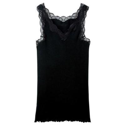 キャミソール(贅沢レースにやわらかな着心地の綿100%リブインナー)/ブラック/LL
