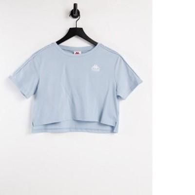 カッパ レディース シャツ トップス Kappa logo taping oversized crop top in light blue Sky blue