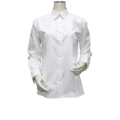 レディース ウィメンズシャツ 長袖 形態安定 レギュラー衿 白無地・ブロード(透け防止)