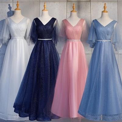 フォーマルドレス サッシュリボン お呼ばれ 大きいサイズ ウエディングドレス 二次会 花嫁 Vライン ブラック ロングドレス 結婚式 パーティードレス 演奏会