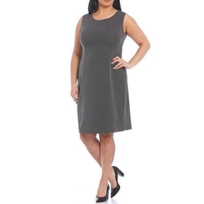 カスパール レディース ワンピース トップス Plus Size Polka Dot Scuba Crepe Empire Seamed Sleeveless Sheath Dress