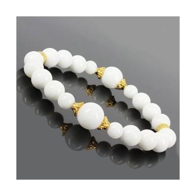 天然石 ホワイト オニキス デザインブレスレット