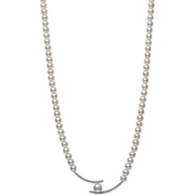 """メイシーズ Macy's レディース ネックレス White Cultured Freshwater Pearl 5-8mm and Cubic Zirconia Accent Necklace in Sterling Silver, 18"""" White"""