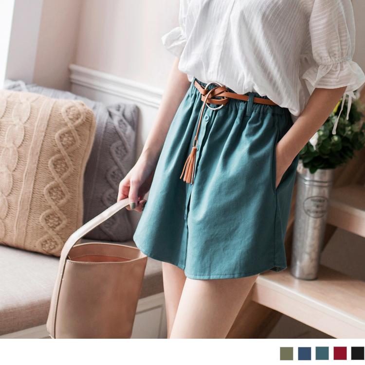 純色棉麻排釦腰鬆緊短褲褲裙附皮帶