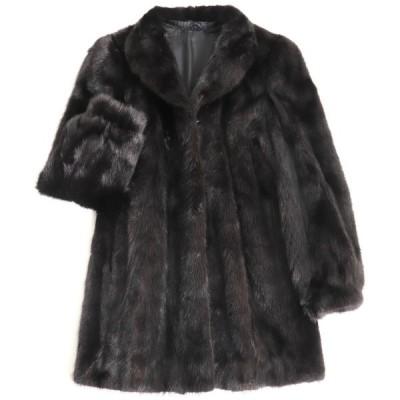 極美品▼MINK ミンク 本毛皮コート ブラック 毛質艶やか・柔らか◎