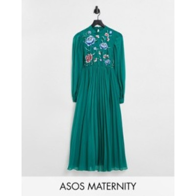 エイソス レディース ワンピース トップス ASOS DESIGN Maternity high neck pleated long sleeve skater midi dress with embroidery in