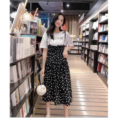 [55555SHOP] 【高品質韓国ファッション🌸】カレッジ風 可愛い フェイク2個セットワンピース  春夏服 通気性の良く爽やかな Tシャツ ワンピース