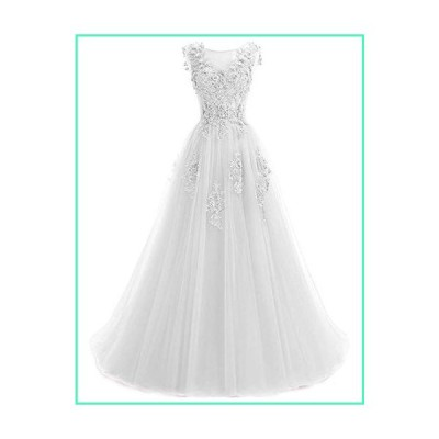Ever Girl Women's Sweep Lace Appliques Scoop Collar Tulle A-Line Prom Dresses White US18並行輸入品