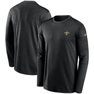 ニューオリンズ・セインツ Nike Sideline Coaches UV Performance Long Sleeve T-シャツ - Black/Heathered Black