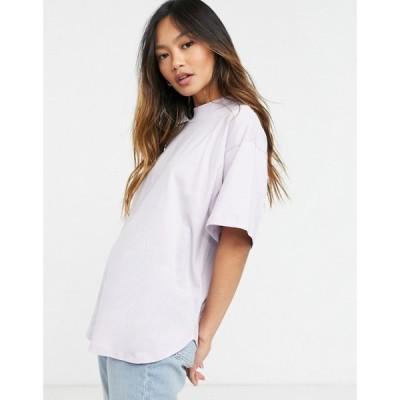 エイソス ASOS DESIGN レディース Tシャツ トップス Asos Design High Neck T-Shirt With Curved Hem In Lilac ライラック