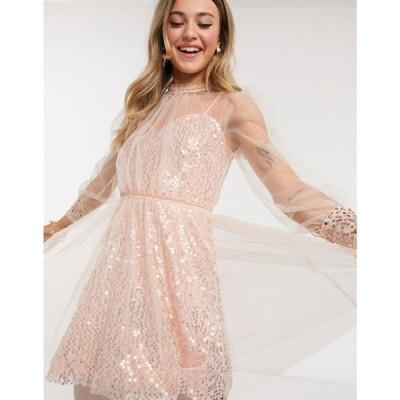 フォーエバー ユー Forever U レディース ワンピース ミニ丈 ワンピース・ドレス sequin skater mini dress with mesh overlay in rose gold ローズゴールド