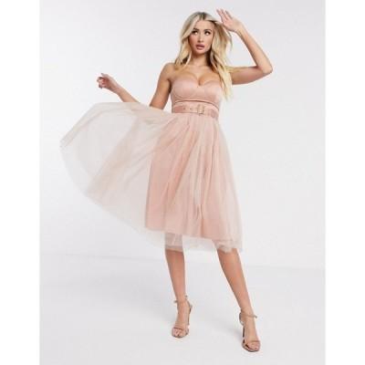 レア レディース ワンピース トップス Rare London tulle strapless dress Nude