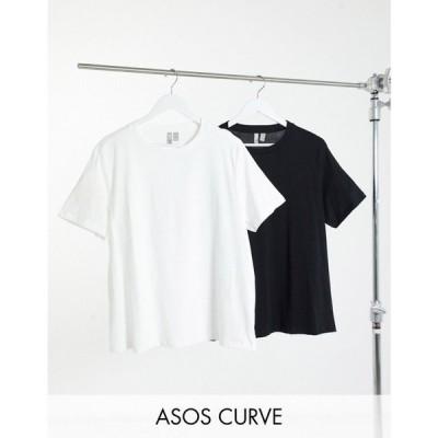 エイソス ASOS Curve レディース Tシャツ 2点セット トップス Curve ultimate organic cotton t-shirt with crew neck 2 pack ブラック/ホワイト