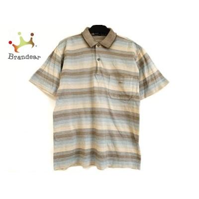 ダンヒル 半袖ポロシャツ サイズS メンズ ベージュ×ライトブルー×ブラウン ボーダー 新着 20200731