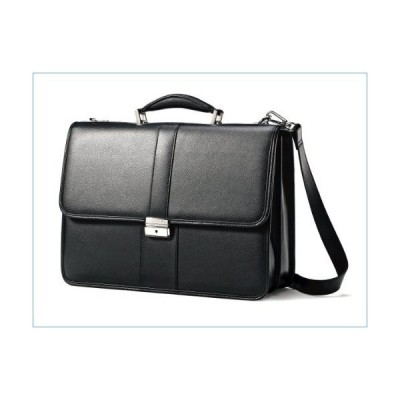Samsonite Leather Flapover Briefcase, Black, One Size並行輸入品