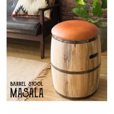 樽型スツール MASALA 座面本革張り CH-L3650 -- 樽型スツール革張り
