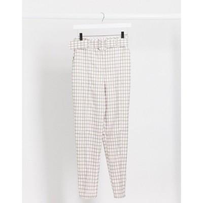 エイソス レディース カジュアルパンツ ボトムス ASOS DESIGN high waist belted cigarette pants in pastel gingham Check