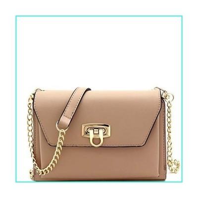 【新品】Dressy Vegan Leather Cellphone Holder Compartment Wallet Clutch Crossbody Purse (Plain Taupe)(並行輸入品)