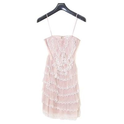 美品 テンパリーロンドン シルク混 フリル チューブトップ ドレス sizeUK8 M02294