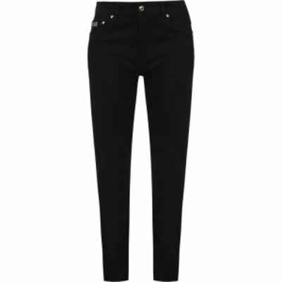 ヴェルサーチ VERSACE JEANS COUTURE レディース ジーンズ・デニム ボトムス・パンツ skinny logo patch jeans Black