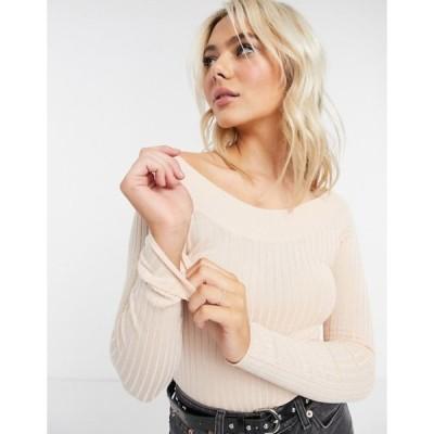 ブレーブソウル レディース ニット・セーター アウター Brave Soul ribbed bardot knitted top in pink