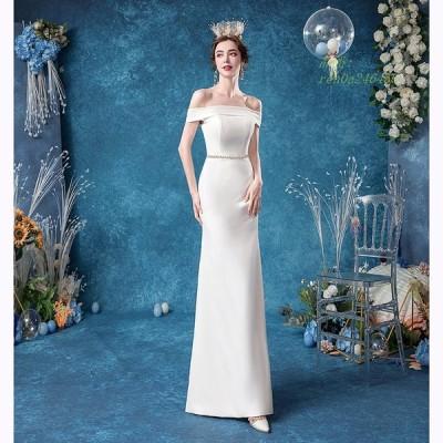 ウェディングドレス マーメイドドレス 白 ロングドレス 花嫁ドレス パーティードレス 二次会 オフショルダー 大人気 高級 ブライダルドレス
