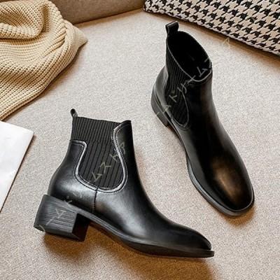 サイドゴアブーツ レディース ミドルヒール 厚底 ショートブーツ 歩きやすい 履きやすい 黒 チャンキーヒール スムース 歩きやすい 大きいサイズあり 秋冬