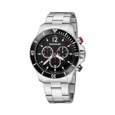 腕時計 ウェンガー Wenger 01.0643.109 Men's Black Dial SS Bracelet Chrono Dive Watch