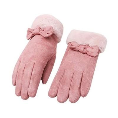 CASEETO 手袋 てぶくろ グローブ 女性用 レディース 通勤 通学 手袋 防寒 暖かい ファー付きリボン手袋 プレゼント 冬