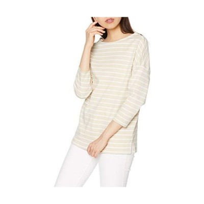 [セシール] Tシャツ 綿100% ボーダー ドロップショルダー Vネック ボートネック 2WAY レディース E(ライトベージ