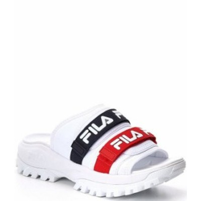 フィラ レディース サンダル シューズ Women's Logo Outdoor Slides White/FILA Navy/FILA Red