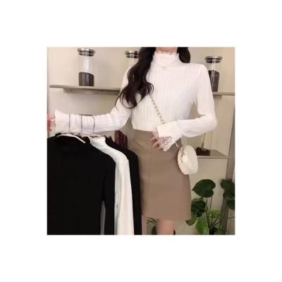 【送料無料】韓国風 スウィート レース ハイカラーシャツ 女 秋冬 インナー 着やせ 着やせ 何でも | 346770_A64284-1914605