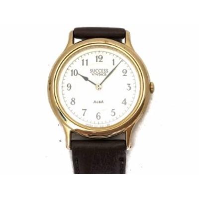 アルバ ALBA 腕時計 SUCCESS VINTAGE V301-6210 メンズ 革ベルト アイボリー【還元祭対象】【中古】20200812