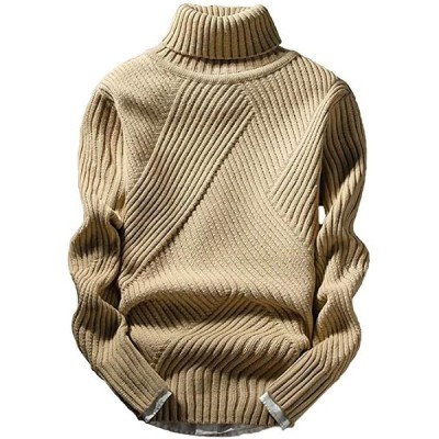 アスペルシオ ハイネック ニット セーター メンズ タートルネック トップス 長袖 ロングスリーブ ながそで 長そで(ベージュ, M)