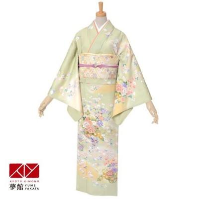 袷 訪問着 レンタル 「H858 黄緑 花籠に桜」対応身長 155〜159cm ホテル・式場への配送OK!