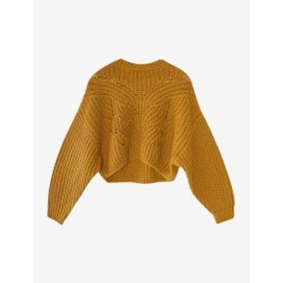 トップショップ TOPSHOP レディース ニット・セーター トップス Butterfly-stitch cropped knitted jumper GREEN